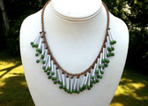 EARLY Miriam Haskell  Bib Necklace SLENDER Long White GLASS BEADS Green Beads