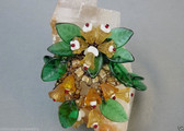 Early MIRIAM HASKELL Pin HAND WIRED GLASS BEADS LEAVES FLOWERS Brass Metal CHAIN