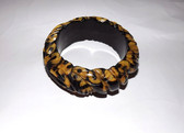 "Rare Deeply CARVED BAKELITE Bangle Bracelet 1"" WIDE 2 Tone CASTING Estate Find"