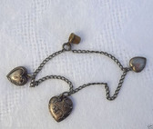 Victorian STERLING SILVER PUFFY REPOUSSE HEARTS CHARM Bracelet + TinyTHIMBLE