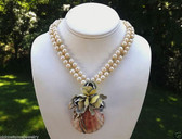 VTG ENAMELED FLOWER on SEASHELL NECKLACE 2 STRANDS Glass PEARLS with GLASS BEADS