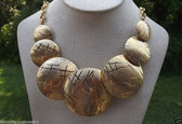 80's Park Lane Runway Couture Necklace Huge Gold Discs Abstract Statement Piece