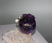Vintage Huge Flower Bracelet Ellen Originals Garden Collection Purple Silver Frost