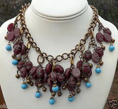UNSGND MIRIAM HASKELL EGYPTIAN  FRINGE NECKLACE~OPALESCENT SCARAB GLASS BEADS