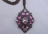 Vintage CZECH Light PINK Sapphire Rhinestones PENDANT Gorgeous Necklace