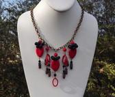 Spectacular Vtg CZECH Glass & Brass FRINGE Necklace RED & BLACK BEADS