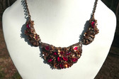 Vtg Wide RED CZECH Necklace~ORNATE METAL Work~Pot Metal & BRASS ~3 Panel Design