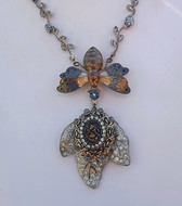 ELLEN ORIGINAL Art Deco Necklace~Enamel MOTH Carrying Rhinestone JEWELED LEAF
