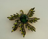 Spectacular JULIANA for HOLLYCRAFT Rhinestone PIN HUGE GREEN STONE