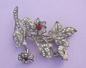 Vintage CORO Trembler FLOWER POT Metal Pin PAVE Rhinestones Unsigned