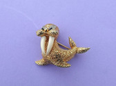 Vintage Happy JOMAZ Gold Walrus Pin Rhinestones Enamel Tusks Adorable Brooch