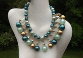 Pearly Beads Baubles Necklace Curved Link Drops Vintage Blues Teal Gold