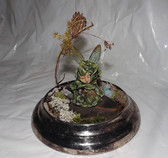 OOAK Leafy Fantasy Miniature Nature Fairy Sprite Sculpture in Garden~Glass Dome