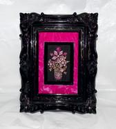 Vintage Framed Rhinestone Art PINK RHINESTONES Sparkling Mother's Day Flowers