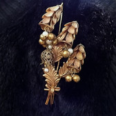 Early Miriam Haskell Flower Spray Brooch Bell Flowers Pearls & Gold Beads BIG