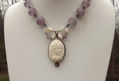Antique Amethyst Beads & High Relief Carved BONE CAMEO NECKLACE Ers Set STERLING