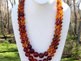 Vintage Honey Amber Lucite Necklace 1960's Double Strand Graduated Beads