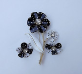 "VINTAGE HUGE 4"" POLKA DOT FLOWER PIN & EARRINGS SET 1960'S SIGNED AVON n r"