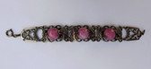 Max Neiger Czech Pink Moonstone Glass Snake Bracelet