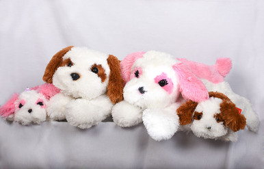 Medium and large stuffed puppy dogs