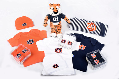 Quality made collegiate baby items: Booties (newborn size), Caps (newborn size), T-shirt (newborn size), Aubie plush toy and Baby Blanket