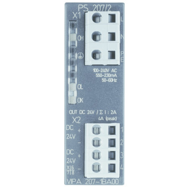207-1BA00 - PS207 Power Supply, 100-240VAC Input, 24VDC Output, 1.2A