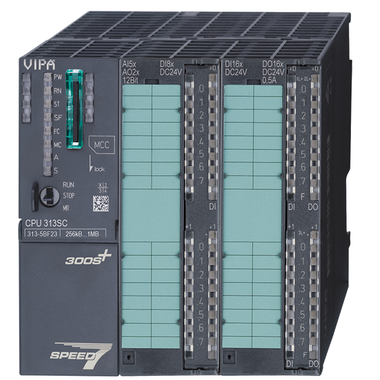 VIPA 313-5BF23 SPEED7 CPU features 256KB work memory, 24 digital inputs, 16 digital outputs, 5 analog inputs, and 2 analog outputs