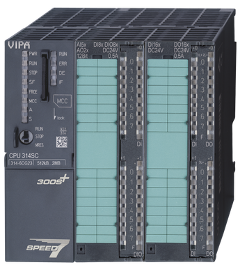 VIPA 314-6CG23 | CPU314SC/DPM, SPEED7, 512KB, 24DI, 16DO, 8DIO, 4AI. Replacement for Siemens 6ES7314-6BH04-0AB0 and 6ES7314-6CH04-0AB0.