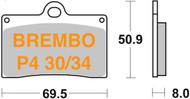 LV047002000036.31 METALGEAR Brake Pads Organic 30-140-S, Brembo P4 30/34 Caliper