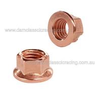 Exhaust Nut M8 x10 Copper Coated Steel Wide Flange