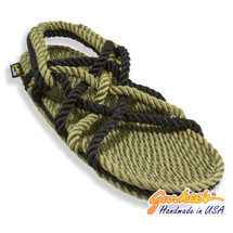 Signature Neptune Olive & Black Rope Sandals