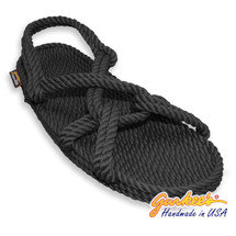 Classic Barbados Black Rope Sandals