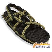Signature Neptune Black & Olive Rope Sandals