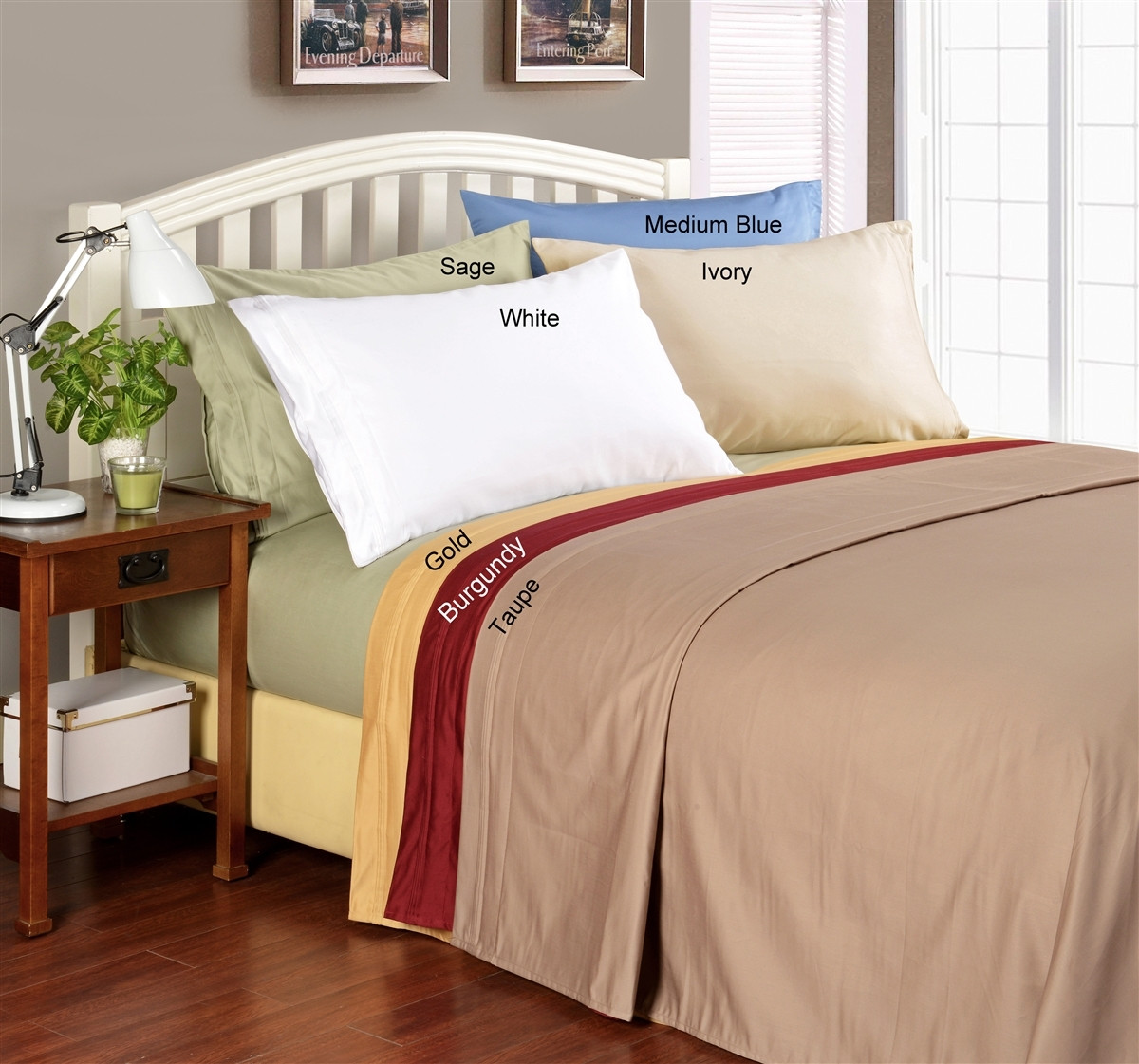 WHITE SOLID STRIPED ALL SIZES ALL BEDDING ITEMS 1000 TC EGYPTIAN COTTON