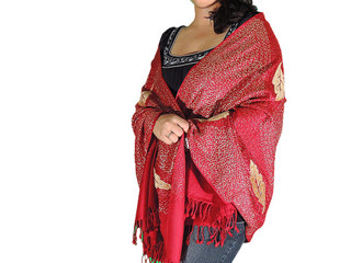 Floral Embroidered Kashmir Wrap Scarf Meditation India Burgundy Jamawar Wool Shawl