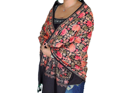 Charming Women Kashmir Wrap Floral Embroidery Luxury Wool Black Shawl Scarf