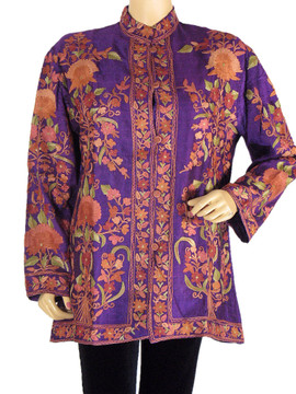 Silk Womens Long Jacket Purple Embroidered Formal Kashmir Fashion Coat L