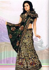 Designer Green Peacock Motif Wedding Dress Lehnga Saree