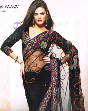 Bollywood Designer Black Cocktail Dress Indian Saree