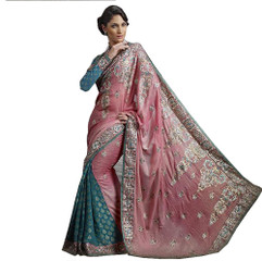 Pink Embroidered Fashion Sari Fancy Designer Cocktail Saree Indian Dress Attire