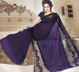 Designer Embroidered Party Sari Beautiful Indigo Georgette Fancy Saree Dress