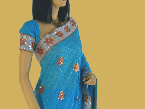 Georgette Blue Bollywood Collection Party Sari Saree