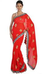 Red Party Zari Saree Clothing Special Occasion Designer Sari Cocktail Dress