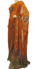 Bollywood Party Sari Dress Beautiful Indian Trendy Designer Rust Orange Saree