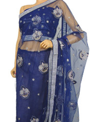 Bollywood Blue Trendy Sari Dress Party Exclusive Designer Stylish Crystal Saree