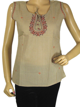 Beige Casual Bollywood Top Ethnic Fashion Kurti Long Cotton Sleeveless Tunic M