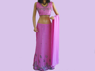 BOLLYWOOD DESIGNER PINK LENGHA LEHNGA CHOLI PARTY L