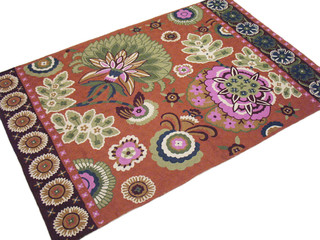 Wool Embroidery Floral Carpet Kashmir Artisan Handmade Rug Wall Hanging Tapestry