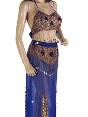 Blue Belly Dance Dress Beaded Professional Costume Bra Long Skirt Apparel S