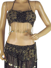 Black Bellydance Fashion Wear Gypsy Fabulous Hip Wrap Skirt Bra Costume M